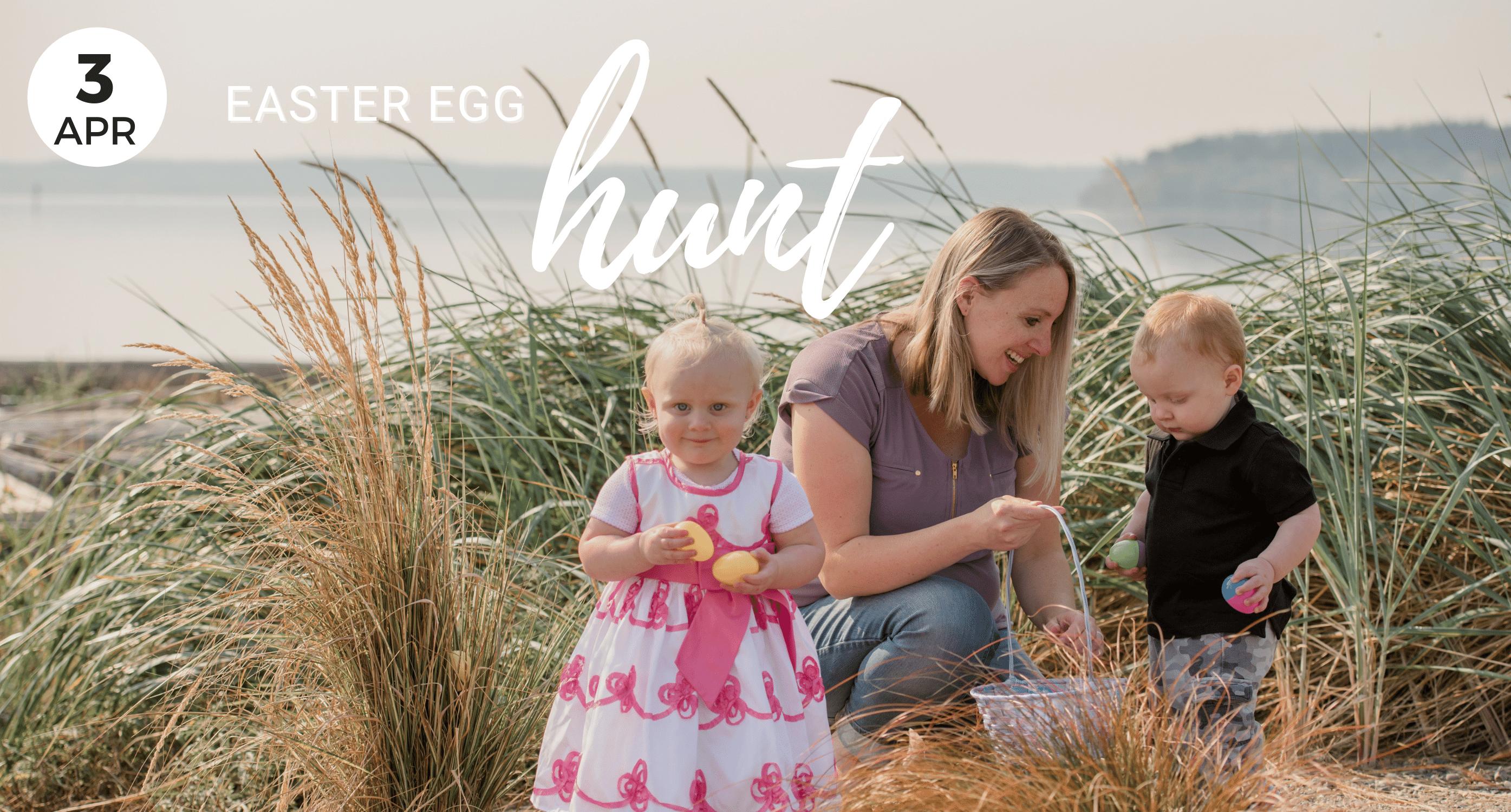 Easter Egg Hunt, Kids with mom, Oak Harbor, City Beach